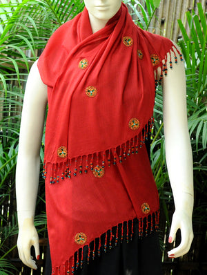 Soft Kashmiri Wool Stole With Zardozi & Beads, Warm Red