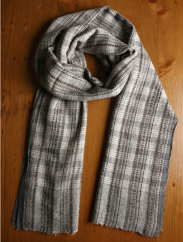 Soft Wool Warm Stole - Herringbone Design - The India Craft House