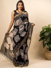 Striking Block Printed Gicha Saree & Silk Border (With Blouse Piece)