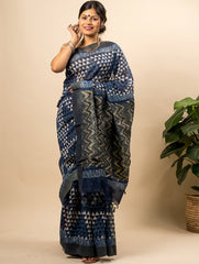Striking Block Printed Saree & Gicha Border (With Blouse Piece)