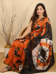 Striking & Vibrant. Bagru Block Printed Chanderi Saree (With Blouse) - Orange, Black & White