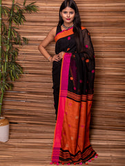 Striking & Vibrant. Pure Handwoven Linen Saree with Bootis (With Blouse Piece)