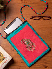 Suede & Silk iPad / Tablet Case with Zardozi Embroidery With Sling - 9.5 x 7.5 inches