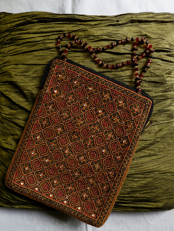 Suede & Zardozi iPad Cover - The India Craft House
