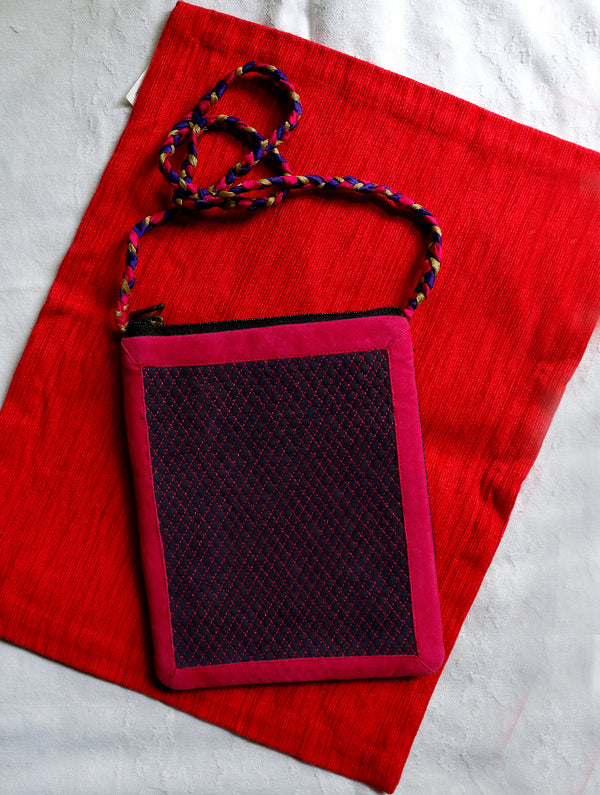 Suede with Zardozi Sling Bag - The India Craft House