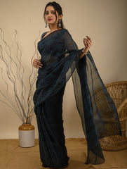 Summer Moods. Bagru Jahota Block Printed  Kota Doria Saree - Blue & Black