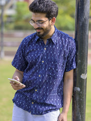 Summer Shirt - Ikat Woven Fabric