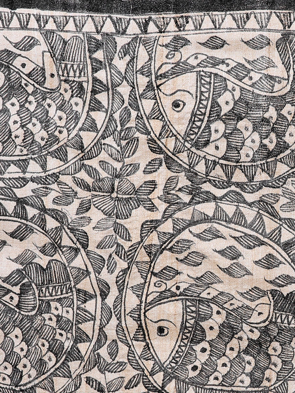 Tussar Silk Madhubani Painted Dupatta - Fish Motifs - The India Craft House