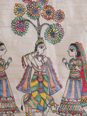 Tussar Silk Madhubani Painted Dupatta with Woven Colored Border - Krishna & His Gopis