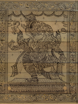 TalaPattrachitra Scroll Painting on Palm Leaf - Dancing Ganesha