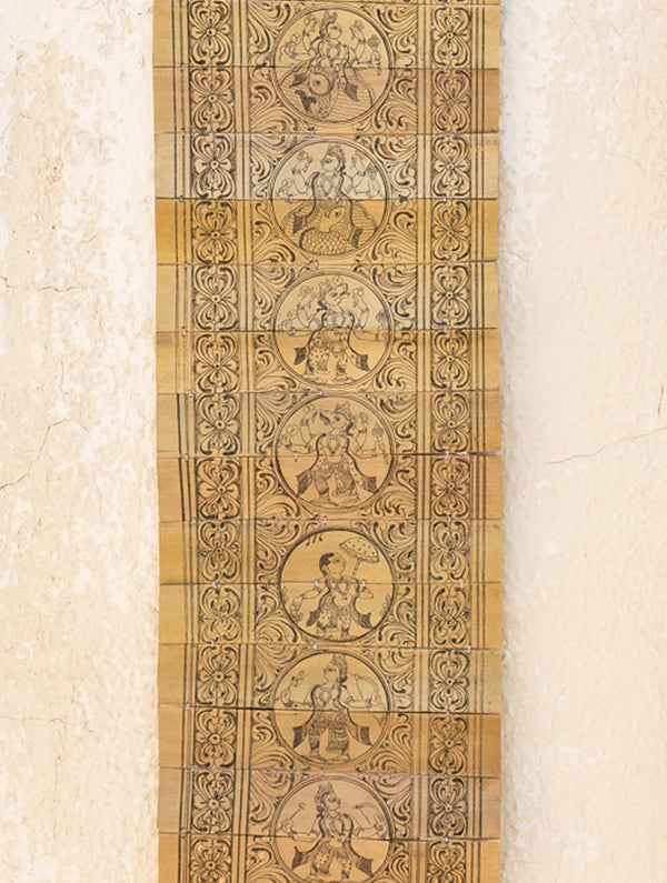 TalaPattrachitra Scroll Painting on Palm Leaf - Dancing Krishna & Dasha Avatar - The India Craft House