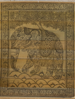 TalaPattrachitra Scroll Painting on Palm Leaf - Elephant