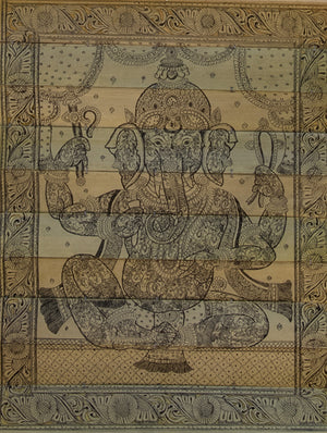 TalaPattrachitra Scroll Painting on Palm Leaf - Ganesha in Ganesha