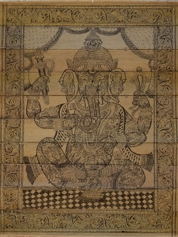 TalaPattrachitra Scroll Painting on Palm Leaf - Ganesha in Ganesha - The India Craft House