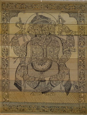 TalaPattrachitra Scroll Painting on Palm Leaf - Ganesha with Dholak