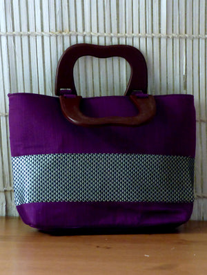Silk Tote Bag with Khand Fabric Trimming