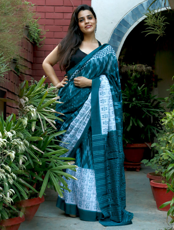 Traditional Ikat Cotton Saree - Peacock Blue & White - The India Craft House
