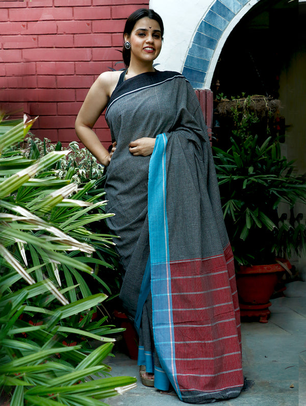 Traditional Kotpad Cotton Saree - Black With Blue Border & Red Pallu - The India Craft House