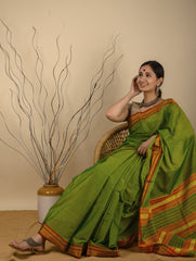 Traditional elegance. Fine Ilkal Cotton Blend Saree - Forest Green
