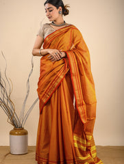 Traditional elegance. Fine Ilkal Cotton Blend Saree - Warm Orange