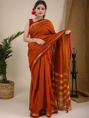 Traditional elegance. Fine Ilkal Cotton Saree - Orange Moments