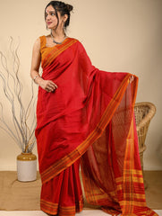 Traditional elegance. Fine Ilkal Cotton Saree - Vibrant in Red