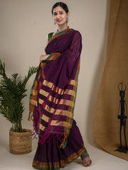 Traditional elegance. Fine Ilkal Cotton Saree - Warm Purple