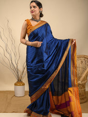 Traditional elegance. The Ilkal Khun Silk Cotton Saree - Royal Blue Statement