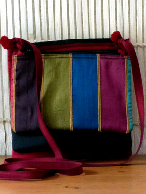 Silk Three-Pouch Sling Bag