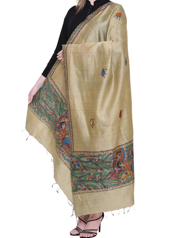Tussar Silk Madhubani Painted Dupatta - Radha & Krishna - The India Craft House