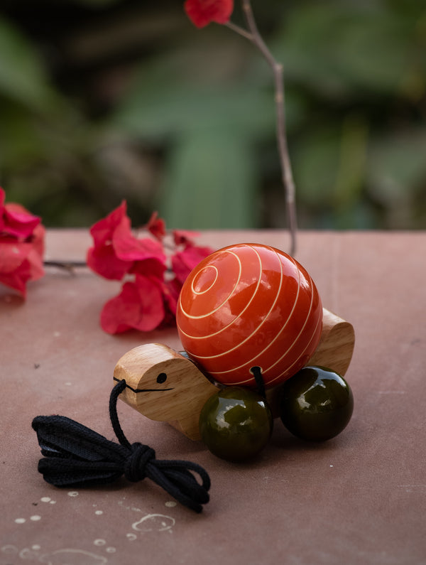 Tuttu Turtle - Wooden Pull Toy - The India Craft House