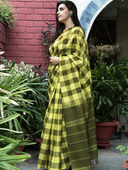 Vibrant Kanchi Cotton Chequered Saree - Bright Yellow & Olive Green
