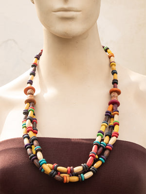 Bengal Wooden Beads Neckpiece - The India Craft House