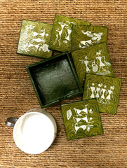 Warli Art Wooden Coaster Set with Box (Set of 7)