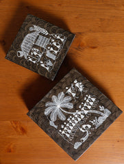 Warli Art Wooden Decorative Utility Boxes (Set of 2 - Large & Small)