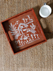 Warli Art Wooden Tray - (Square with Handles)