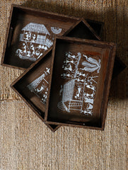 Warli Art Wooden Trays - (Rectangular; Set of 3 - 1 Large, 2 Small)