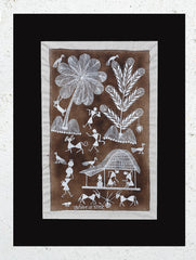 "Warli Painting With Mount (Medium) - Village Scene (9.5""x 13"")"
