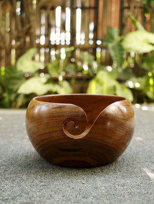 Wood Carving Craft - Yarn Bowl - Large - The India Craft House