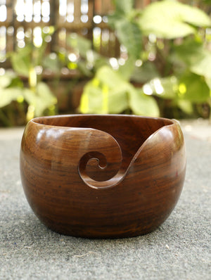 Wood Carving Craft - Yarn Bowl - Small - The India Craft House