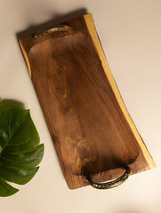 Wood & Dhokra Craft - Long Serving Tray with Dhokra Handles
