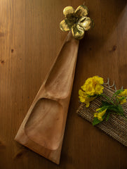Wood & Dhokra Craft - Long Triangular Serving Tray with Dhokra Flower