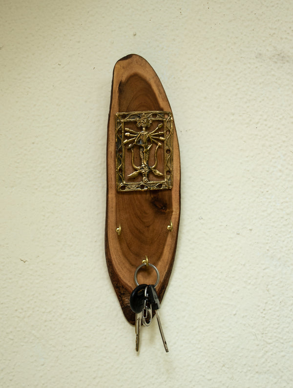 Wood & Dhokra Craft Key Hanger - The India Craft House