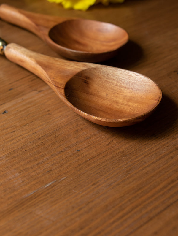 Wood & Dhokra Craft Serving Spoons (Set of 2) - The India Craft House
