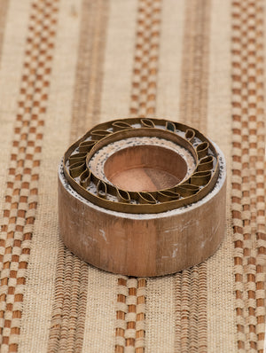 Wood with Brass Candle Holder - The India Craft House