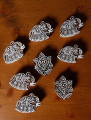 Wooden Carved Printing Blocks  - Small, Elephants & Roses (Set of 8)