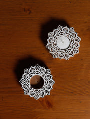 Wooden Carved Tealight Holders - Flowers (Set of 2)