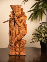 Wooden Engraved Table / Wall Curio - Lord Krishna