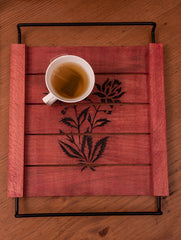 Wooden Engraved Tray with Metal Handles