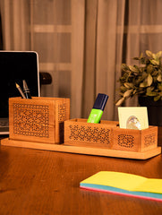 Wooden Jaali Desk Set - Pen Stand Square, Tray & Card Holder & Pin / Key Holder (Set of 4)